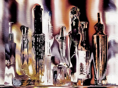 Stopper Digital Art - Eight Bottles by Barbara D Richards