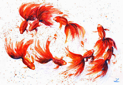 Painting - Eight Dancing Goldfish  by Zaira Dzhaubaeva