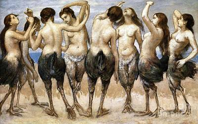 Painting - Eight Dancing Women In Bird Bodies by Roberto Prusso