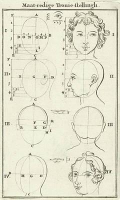 Human Head Drawing - Eight Heads, Labeled I-iv, Jan Luyken, Willem Goeree by Jan Luyken And Willem Goeree
