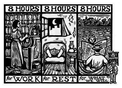 Eight Hours Art Print by Ricardo Levins Morales