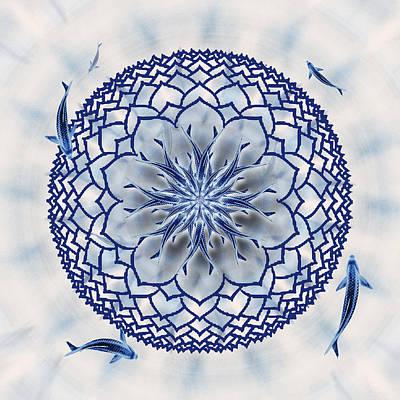 Koi Digital Art - Eight-koi Lotus Mandala by Deborah Smith