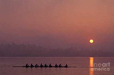 Photograph - Eight Man Crew On Union Bay Silhouetted At Sunrise  by Jim Corwin