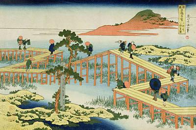 Japanese Landscape Painting - Eight Part Bridge, Province Of Mucawa by Katsushika Hokusai