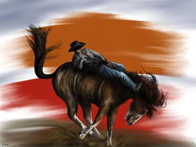 Painting - Eight Seconds - Rodeo Bronco by Ron Grafe
