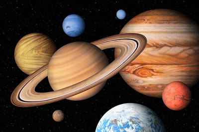 Neptune Wall Art - Photograph - Eight Solar System Planets by Lynette Cook/science Photo Library