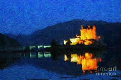 Digital Art - Eilean Donan At Night by Diane Macdonald