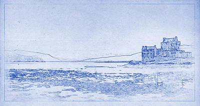 Justin Woodhouse Photograph - Eilean Donan Castle Blueprint by Kaleidoscopik Photography
