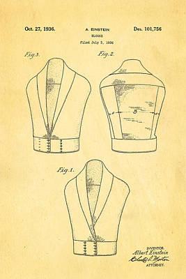 Einstein Blouse Waistcoat Patent Art 1936 Art Print by Ian Monk