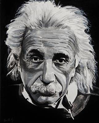 Genius Wall Art - Painting - Einstein  by Brian Broadway