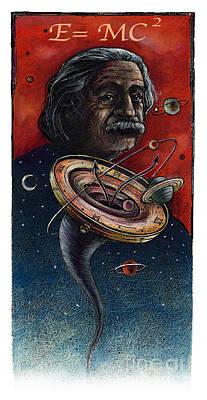 Einstein Drawing - Einstein by Chris Van Es