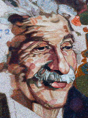 Photograph - Einstein In Mosaic Tiles by Jeff Lowe