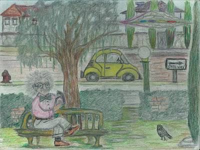 Einstein Drawing - Einstein In The Park by G L Smith
