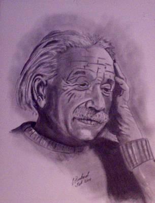 Einstein Drawing - Einstein In Thought by Charles Pinkard Sr