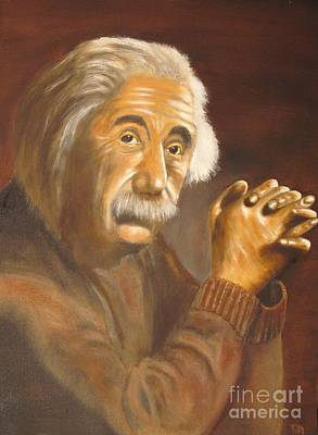 Theory Of Relativity Painting - Einstein - Original  Oil Painting by Anthony Morretta