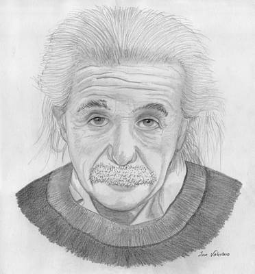Drawing - Einstein Portrait by M Valeriano