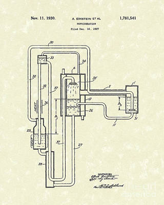 Drawing - Einstein Refrigerator 1930 Patent Art by Prior Art Design