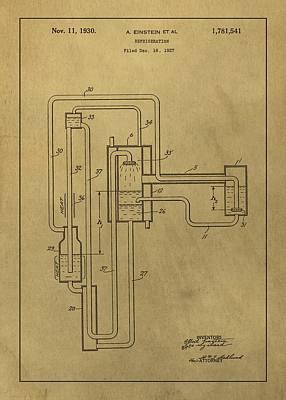 Einstein Refrigerator Patent Art Print