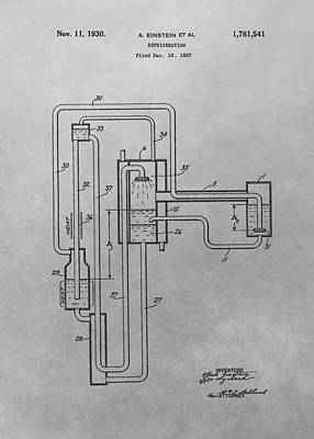 Einstein Drawing - Einstein Refrigerator Patent Drawing by Dan Sproul