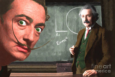 Cheer Digital Art - Einstein Shows Dali The Theory Of Relativity 20141215 by Wingsdomain Art and Photography