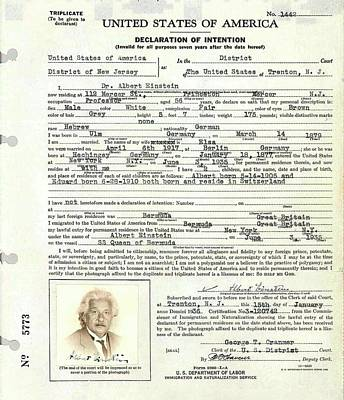 North American Photograph - Einstein's Immigration Declaration by Emilio Segre Visual Archives/american Institute Of Physics