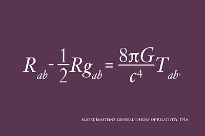 Einstein Digital Art - Einstein's Theory Of Relativity by Michael Tompsett