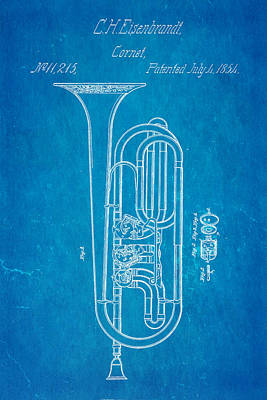 Cornet Photograph - Eisenbrandt Cornet Patent Art 1854 Blueprint by Ian Monk