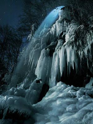 Moonlight Wall Art - Photograph - Eisfall Im Mondlicht by Nicolas Schumacher