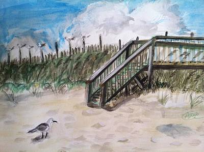 Sand Dunes Drawing - Ejoying The View  by Asuncion Purnell