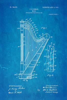 1905 Photograph - Ekman Harp Patent Art 1905 Blueprint by Ian Monk