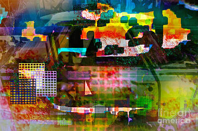 Colorful Abstract Mixed Media - El Camino Restoration by Gwyn Newcombe