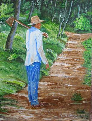 Campesinos Painting - El Campesino by Luis F Rodriguez