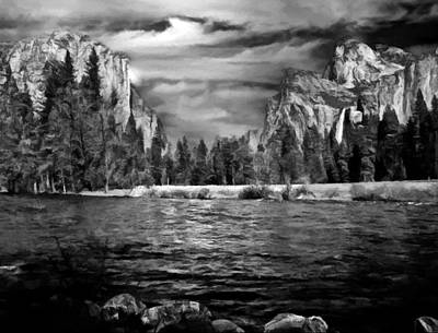 Digital Art - El Capitan - Bridalveil - Half Dome by Bob and Nadine Johnston