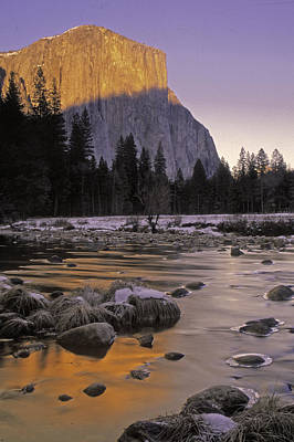 Art Print featuring the photograph El Capitan Sunset And The Merced River by Judi Baker