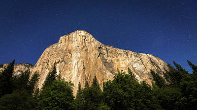 El Capitan Under A Starry Moonlit Night Art Print