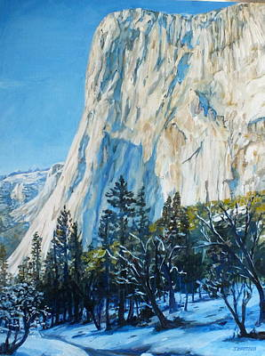 El Capitan Painting - El Capitan Winter In Yosemite by Jennifer Bartsch