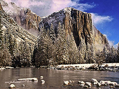Digital Art - El Capitan Yosemite In Winter by Bob and Nadine Johnston