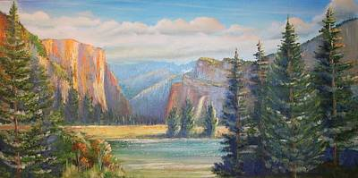 Painting - El Capitan  Yosemite National Park by Remegio Onia