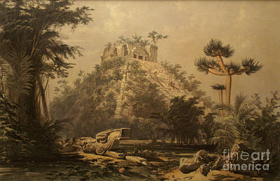 Farm Life Paintings Rob Moline - El Castillo at Chichen Itza by Frederick Catherwood by John  Mitchell