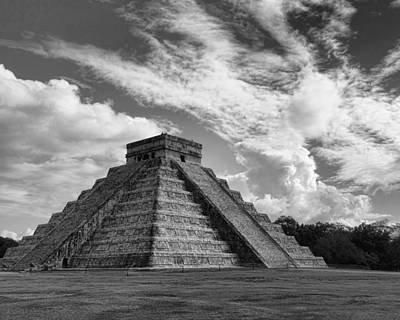 Photograph - El Castillo Mayan Ruins In Black And White - Photography by Ann Powell