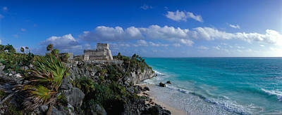 Aquamarine Photograph - El Castillo Tulum Mexico by Panoramic Images