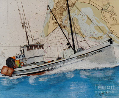 Dragger Painting - El Dorado Trawl Fishing Boat Nautical Chart Art by Cathy Peek