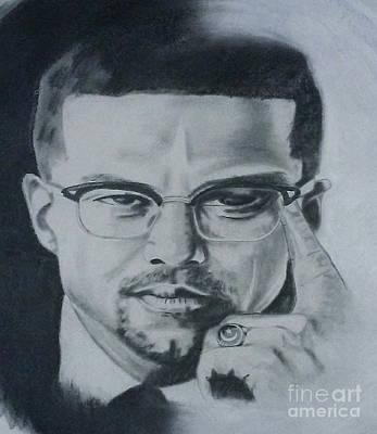 Malcolm X Drawing - El-hajj Malik El-shabazz by Iyosef  Tafari