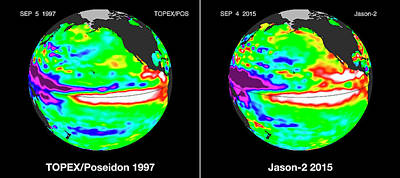 Satellite Image Photograph - El Nino Comparison by Nasa/jpl-caltech