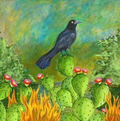 Painting - El Pajaro Negro En Fuego by Manny Chapa