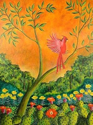 Painting - El Pajaro Rojo by Manny Chapa