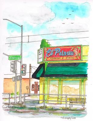 Cantina Painting - El Palacio Restaurant In Route 66, Andy Devine Ave., Kingman, Arizona by Carlos G Groppa