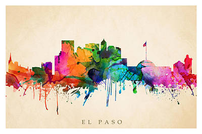 Digital Art - El Paso Cityscape by Steve Will
