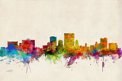 El Paso Digital Art - El Paso Texas Skyline by Michael Tompsett