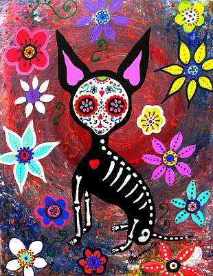 Painting - El Perrito Chihuahua Day Of The Dead by Pristine Cartera Turkus